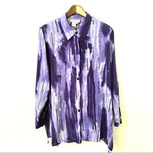 Diane Gilman silk embroidered blouse bottom down